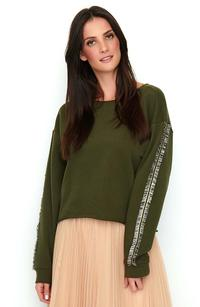 Khaki Sports-Casual Sweatshirt with Decorative Pipeline