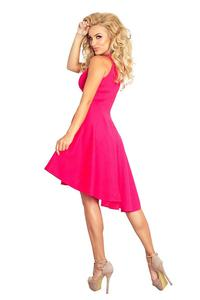 Raspberry Pink Asymetrical Light Pleats Coctail Dress