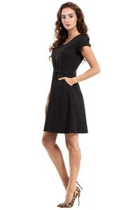 Black Short Sleeves Belted Mini Dress