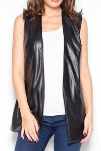 Black Faux Leather Ladies Vest Jacket