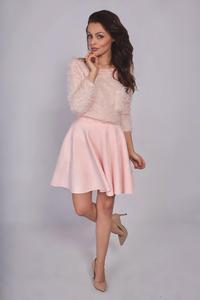 Pink Flared Synthetic Suede Dress with Pockets