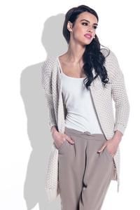 Beige Reglan Sleeves Open Cardigan