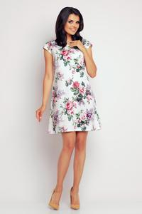 White Rose Print Short Sleeves Mini Dress