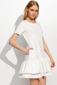 Ecru Short Sleeves Double Frill Mini Dress