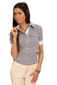 Slim Fit Seam Collared Brow Shirt with Flap Chest Pocket