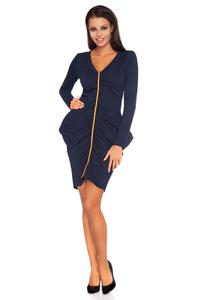 Dark Blue Wrinkled Contrasting Detail Dress