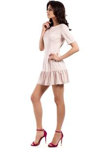Pink Suede Imitation Dress with Frill