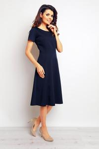 Dark Blue Short Sleeves Light Pleats Dress
