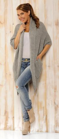 Lightgrey Oversized Cardigan with Pockets