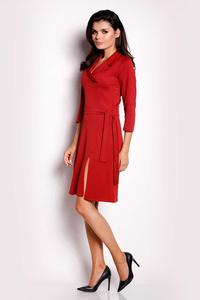 Dark Red Wrap Belted Dress