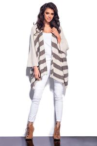Beige Striped Loose Cut Cardigan