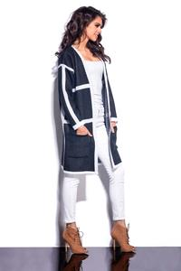 Black Long Cardigan with Contrasting Piping