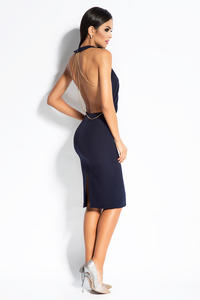 Navy Blue Evening Dress with Open Back and Chain