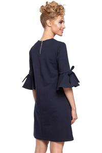 Dark Blue Flared Dress with Bow on The Sleeves