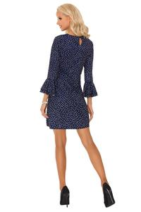 Mini Navy Dress Dotted With Frills