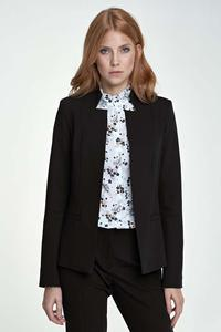 Black Elegant Stand-up Collar Ladies Blazer
