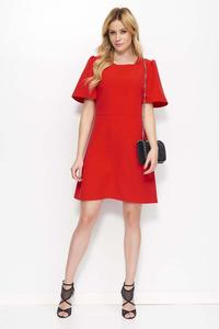 Red Flared Mini Dress with Short Sleeves