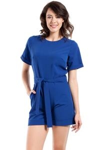 Blue Short Sleeves Belted Summer Jumpsuit
