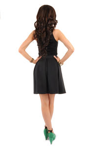 Deep Pleat Short Black Skirt