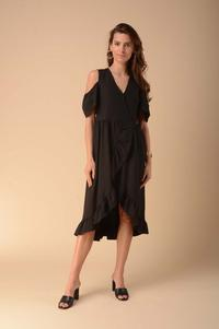 Envelope Dress with Cut-Out Shoulders - Black