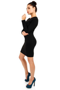Black Seam Shift Dress with Raglan Sleeves