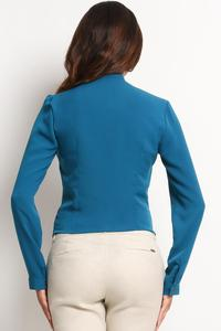 Blue Elegant Office Style Shirt with Buttons