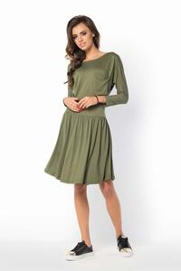 Khaki Casual Scoop Neckline Dress