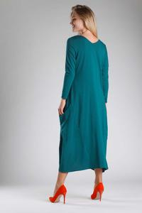 Green Knitted Midi Dress Buttoned