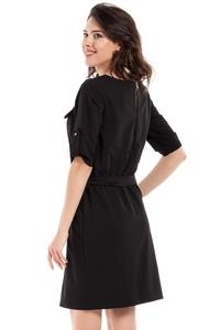 Black Casual Rolled-up Sleeves Mini Dress