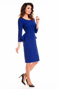 Blue Midi Dress with Peplum
