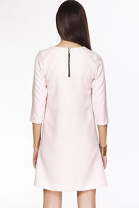 Pink Casual A-line 3/4 Sleeves Zipper Back Dress