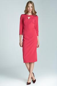 Fuchsia Elegant Midi Dress with Cut Out Detail