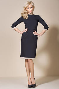 Black/Beige Corporate Look Chic Dress