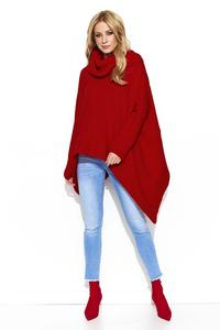 Red Loose Turtleneck Sweater with Long Sides