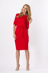 Red Casual Self Tie Belt and Rolled-up Sleeves Dress