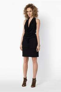Black Knee Length Wrinkled Dress