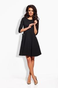 Black Delicate Pleats Big Pockets Dress