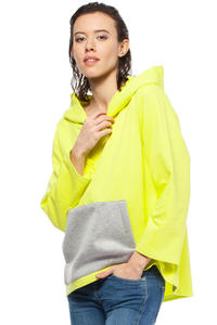 Yellow Oversized Hooded Sweatshirt with Contrast Kangaroo Pocket