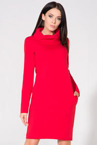 Red Casual Tourtleneck Dress