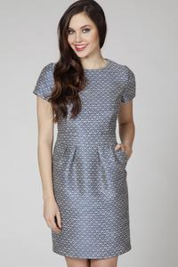 Blue Jaquard Short Sleeves Coctail Dress
