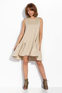 Beige Sleeveless Drop Waist  Swing Dress