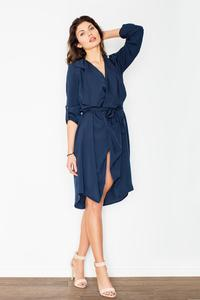 Dark Blue Coat Style Belted Dress