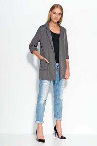 Dark Grey Casual Long Ladies Blazer