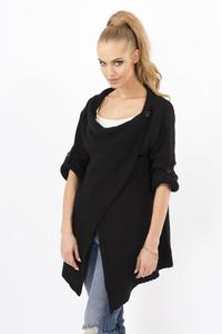 Black Stylish One Button Rolled-up Sleeves Cardigan