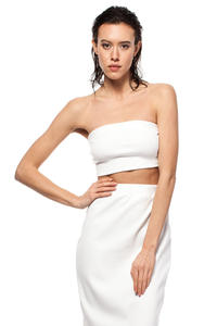 White Bandeau Tube Top with Elasticized Trim