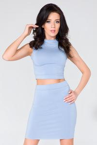 Light Blue Fitted Stand-up Collar Short Blouse
