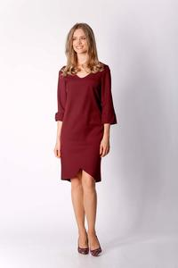Burgundy Classic Straight Dress with Asymmetrical Zipper