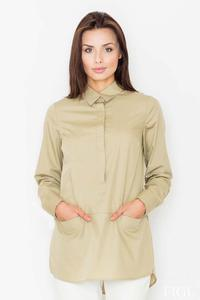 Olive Green Front Pockets Shirt