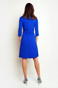 Blue Simple Office Style 3/4 Sleeves Dress