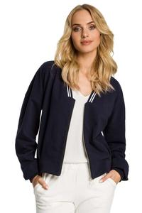 Navy Blue Bomber Jacket Fastened with Silver Zipper
